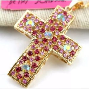 Betsey Johnson rhinestone cross long necklace NWT